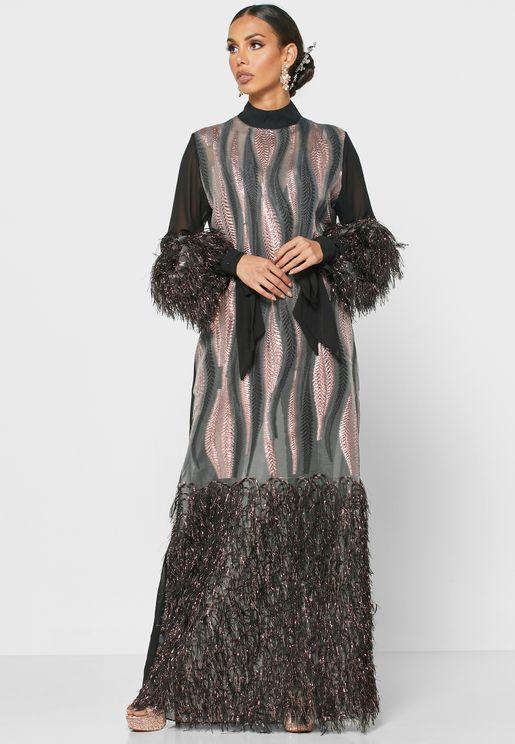 فستان ماكسي باجزاء مطرزة