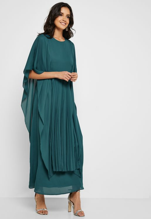 Pleated Font Cape Dress