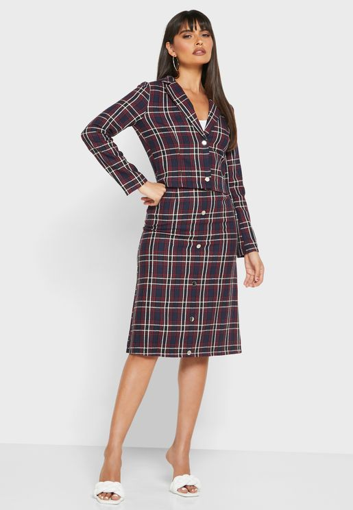 Checked Two Button Blazer Midi Skirt Set
