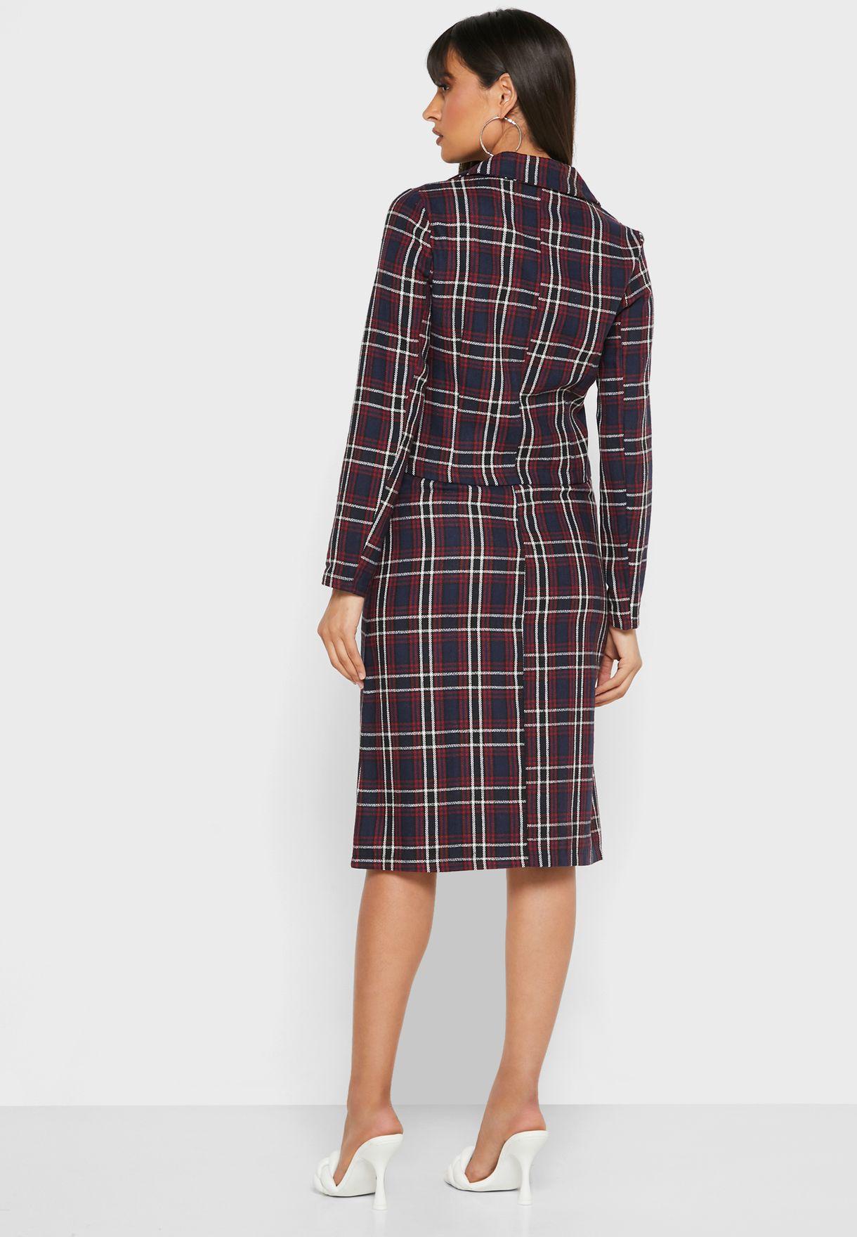 Checked Two Button Blazer Midi Skirt Set