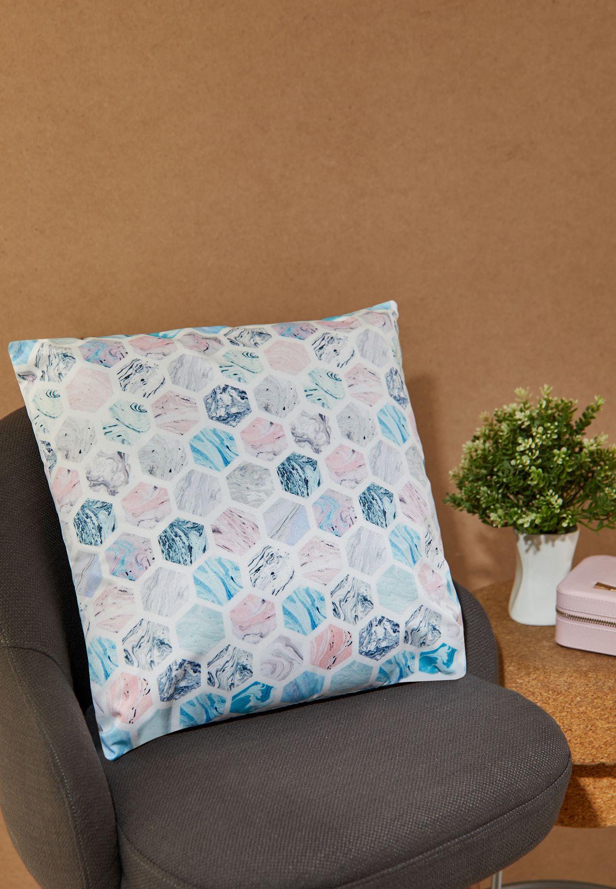 Marble Hexagon Print Cushion 45*45