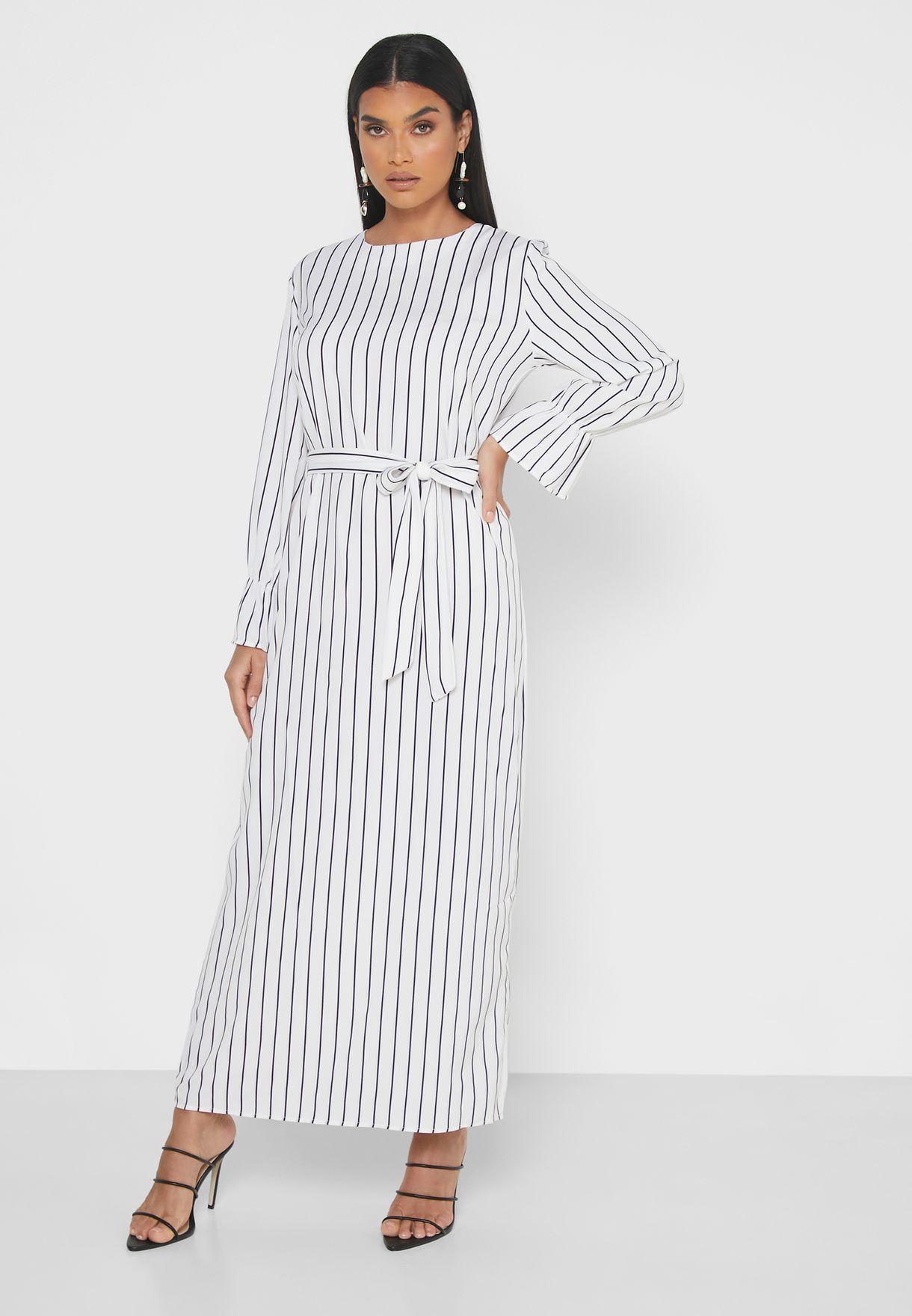 Striped Self Tie Midi Dress