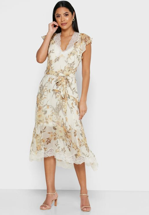 Emlin Lace Trim Floral Print Dress