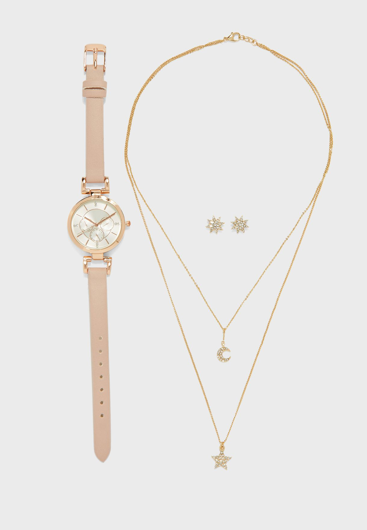 Watch And 2 Piece Stars And Moon Jewellery Set