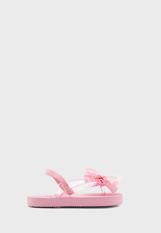 Kids Flower Detail Slingback Flip Flop