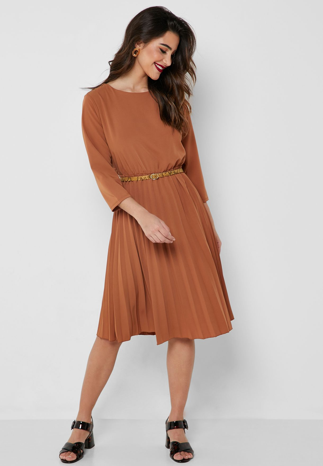 dd583470d4a3 Shop Ella brown Pleated Skirt Belted Midi Dress 9212 for Women in ...