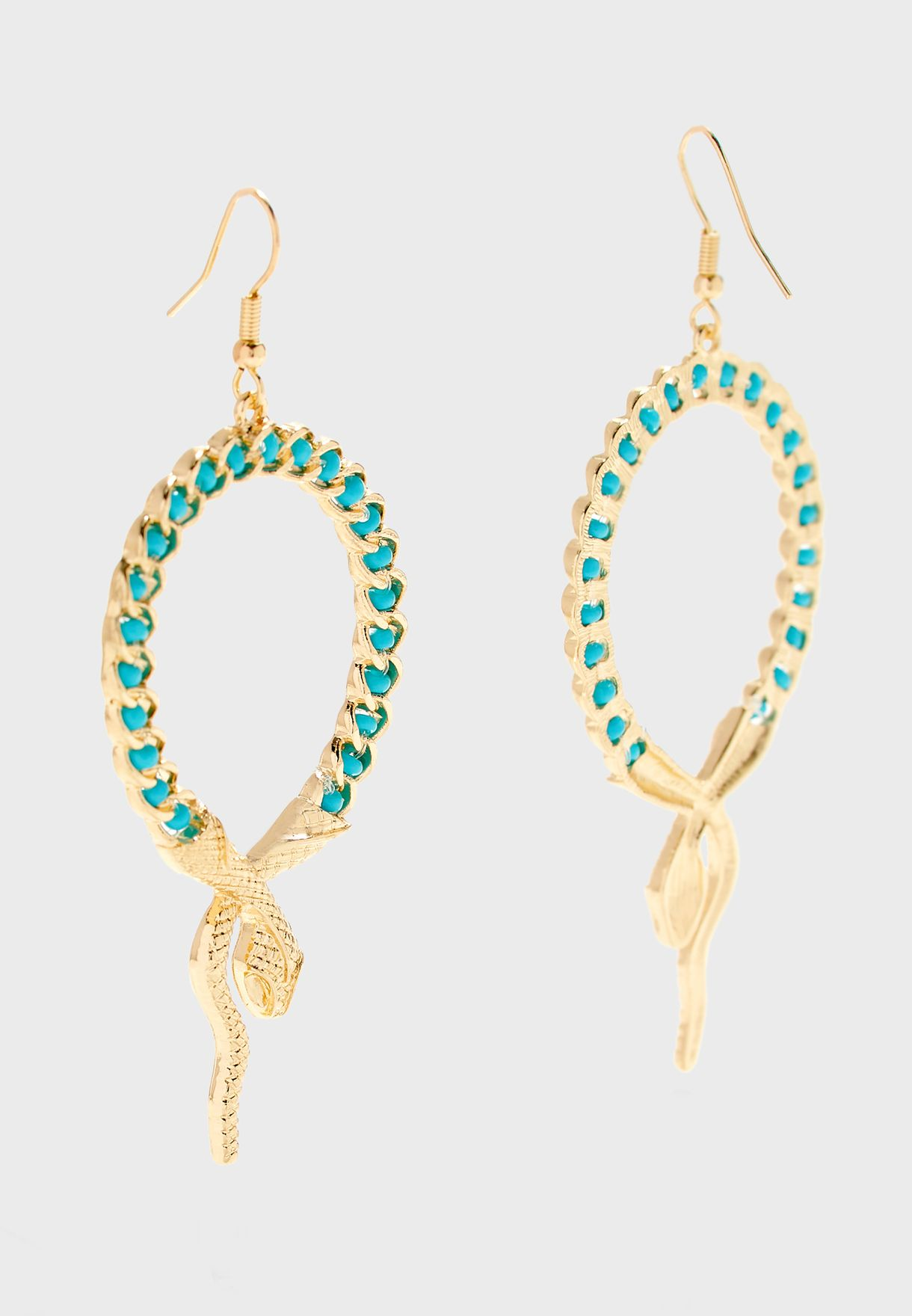 Drop Earrings In Snake Design