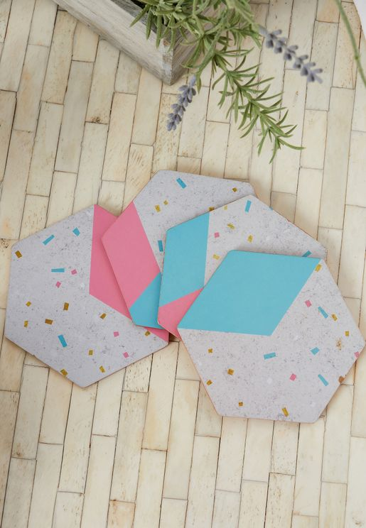 Set Of 4 Mimo Gold Foil Edge Coasters