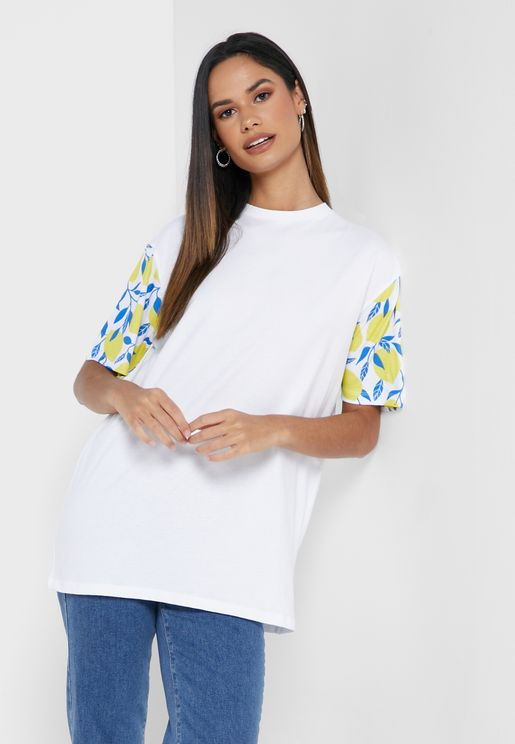 Oversized Print Sleeve T-Shirt