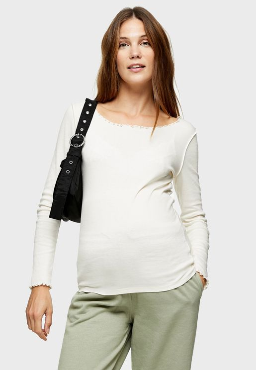 Maternity Long Sleeve Lettuce Hem T-Shirt
