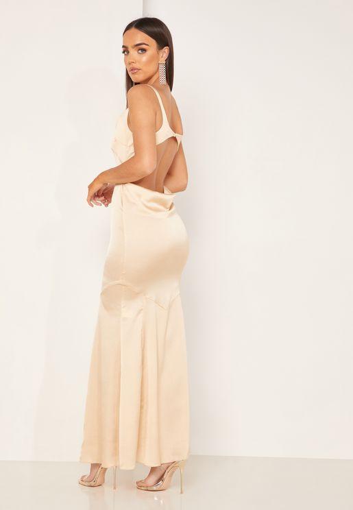 Evangeline Square Neck Cut Out Back Dress