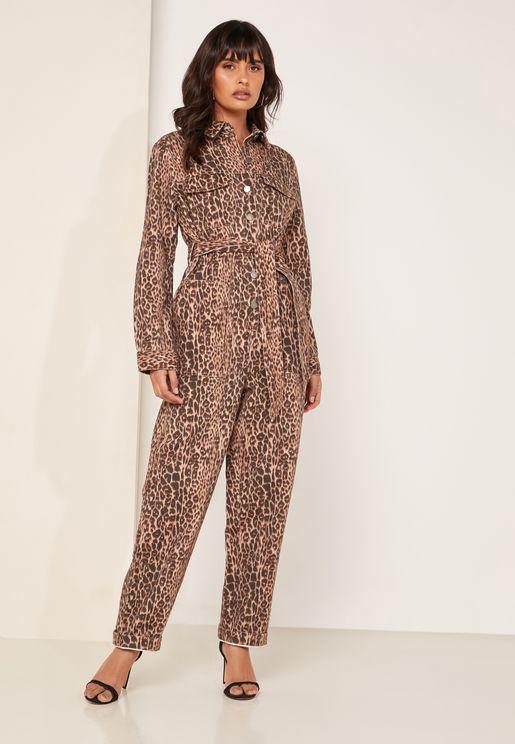 Reiterate Tie Waist Leopard Print Boilersuit