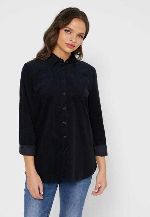 قميص طويل بشعار الماركة