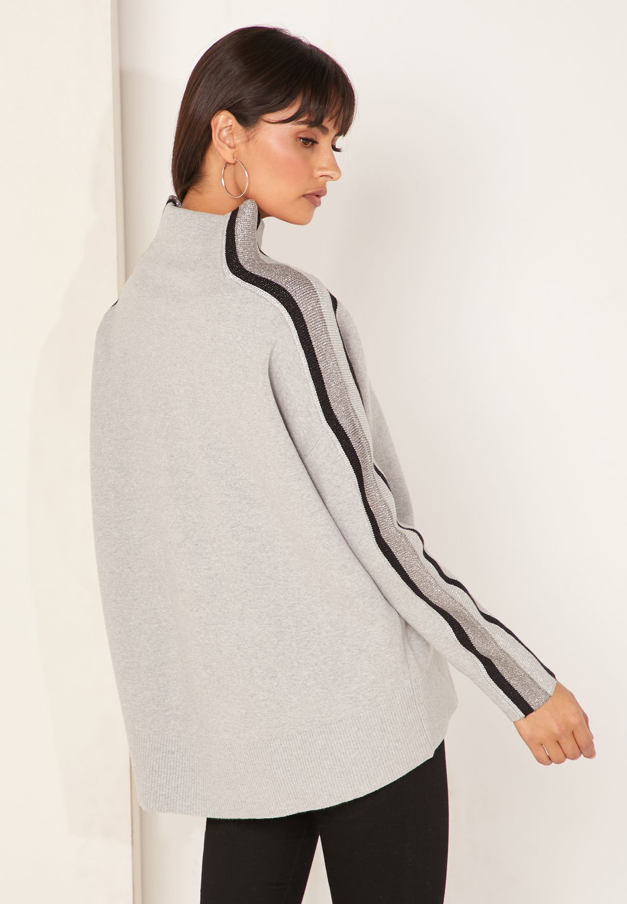 Cacie Mock High Neck Striped Sweater