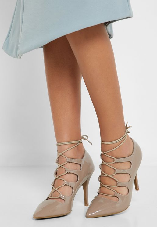 8bcb0438eab Court Shoe With Lace Up Detail