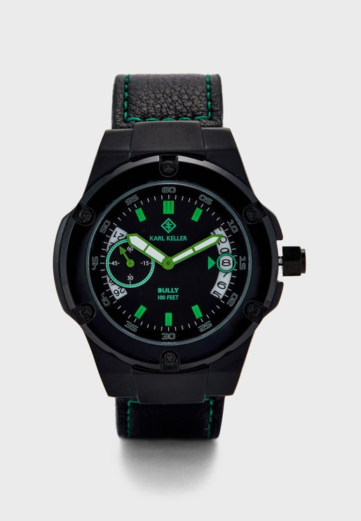 Bully Leather Strap Analog Watch