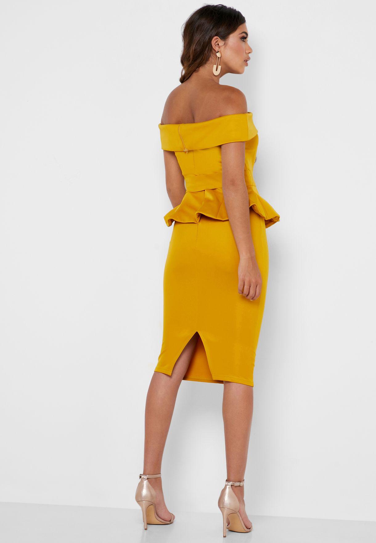 Ruffle Detail Peplum Bardot Dress