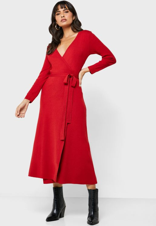 Tie Waist Plunge Wrap Dress