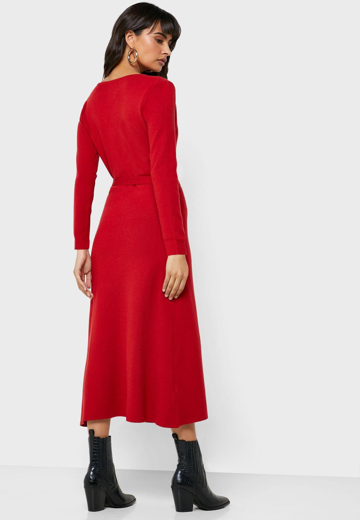 Tie Waist Plunge Wrap Dress