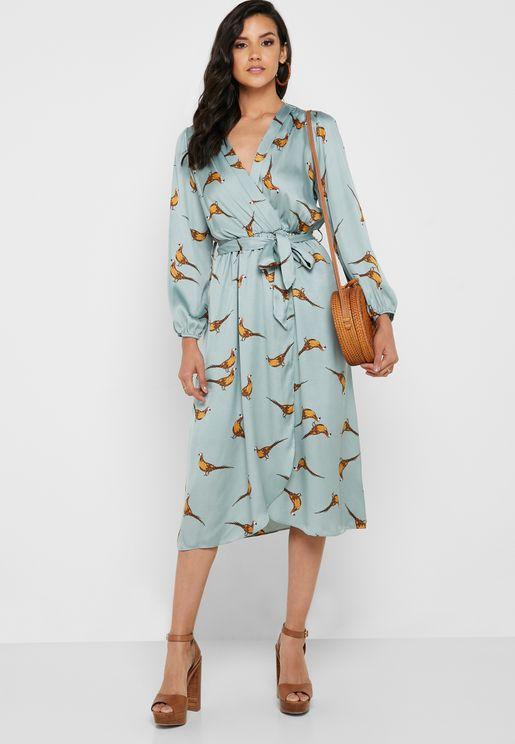 Bird Print Wrap Front Midi Dress