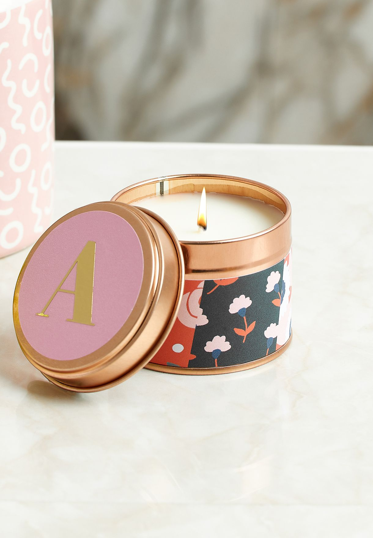 A Initial Floral Candle