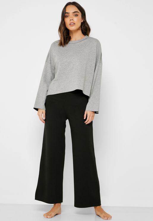 Wide Sleeve Oversize T-Shirt & Pyjama Set