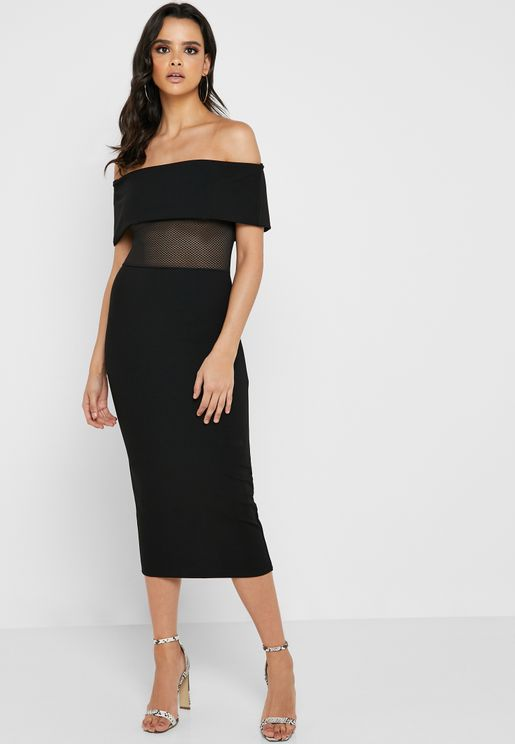 Bardot Fishnet Bodycon Dress