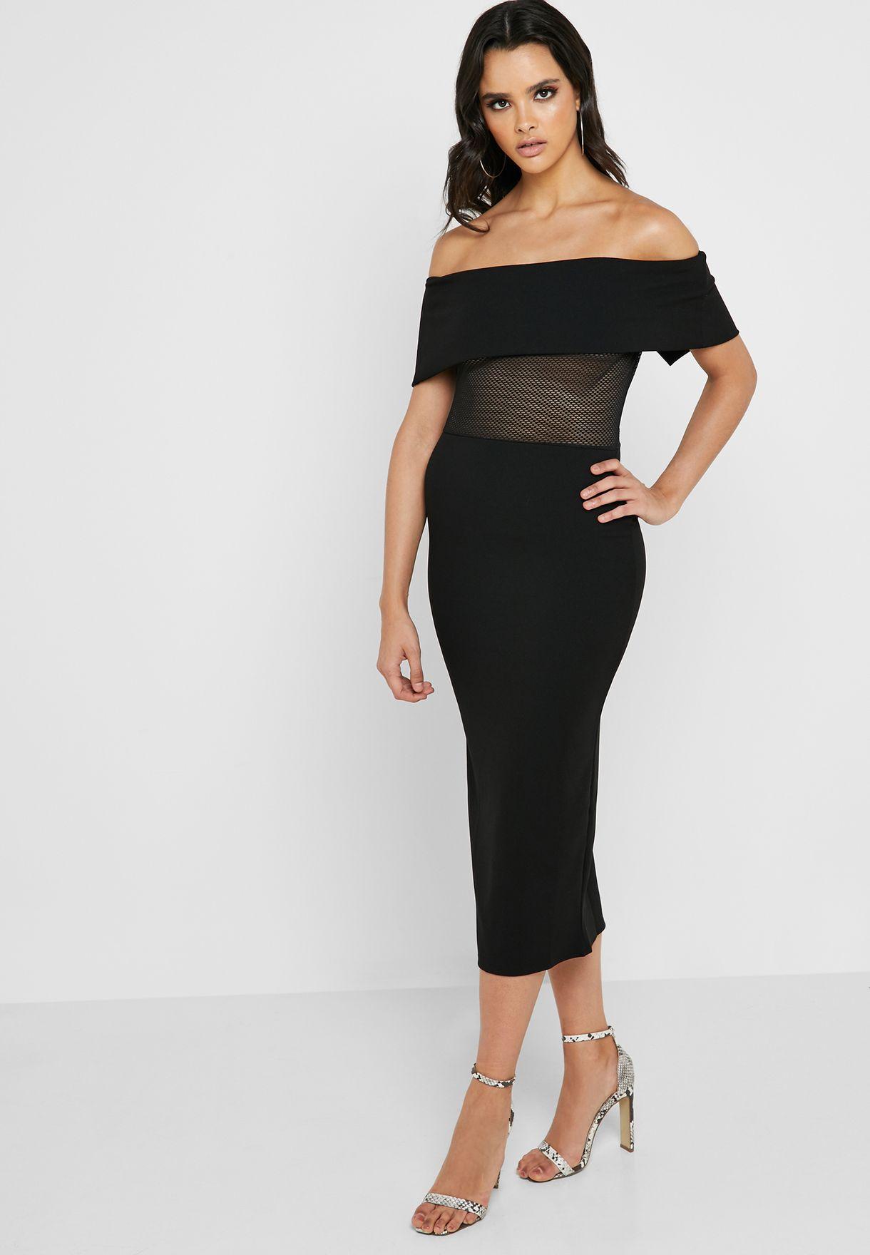 9b34f76716 Shop Missguided black Bardot Fishnet Bodycon Dress DE928354 for ...