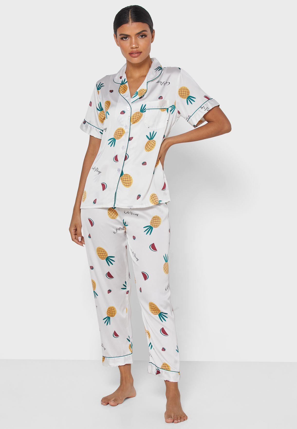 Pineapple Print Shirt Pyjama Set