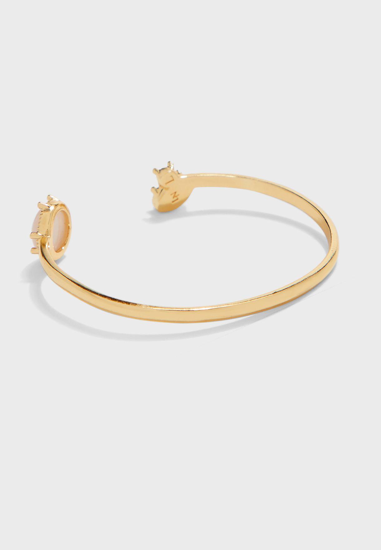 Quartz Rhinestone Cuff Bracelet