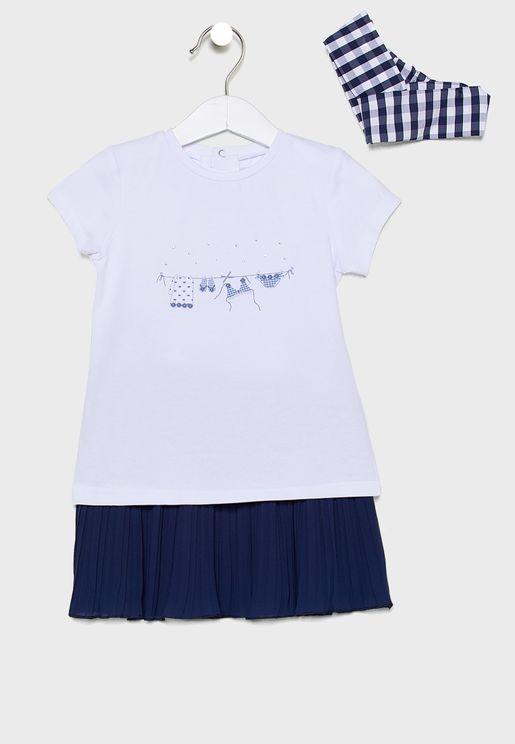Little 2 Piece Dress + Headband Set