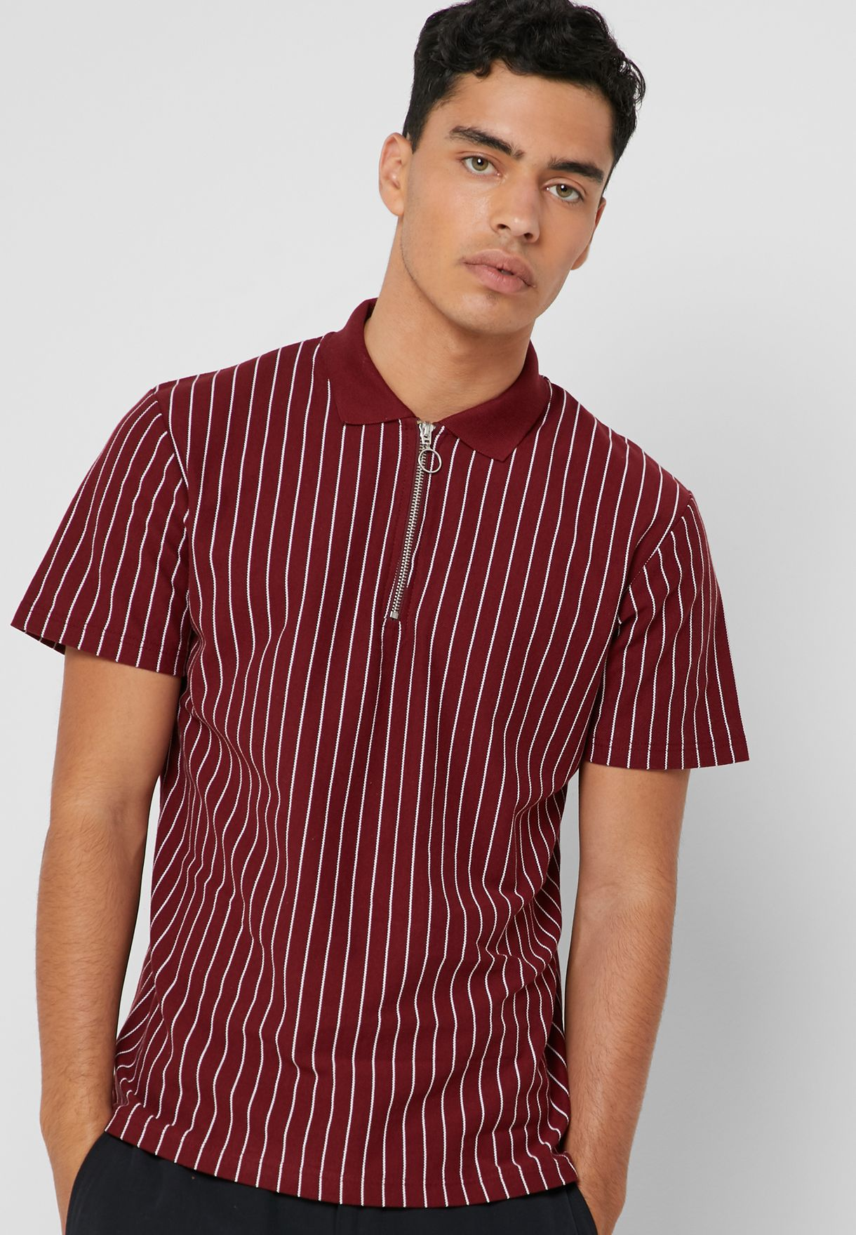 5d82a845657 Shop Topman red Pinstripe Polo 71I15SBRG for Men in UAE - 18832AT05BSP