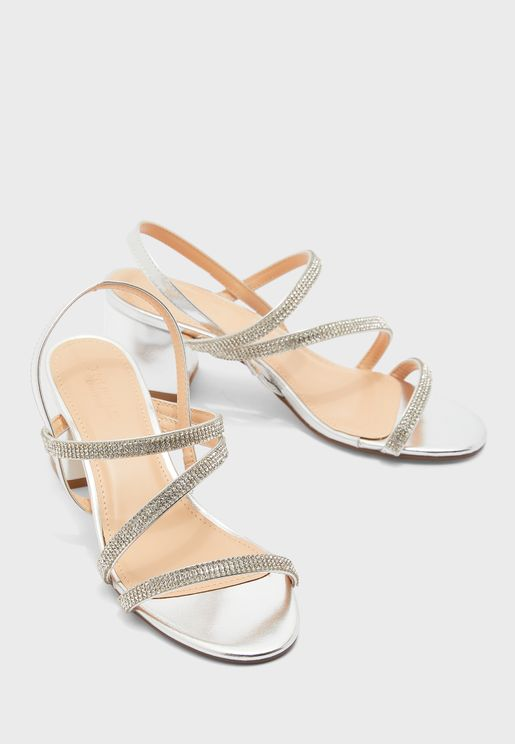 Diamante Block Heel Sandals