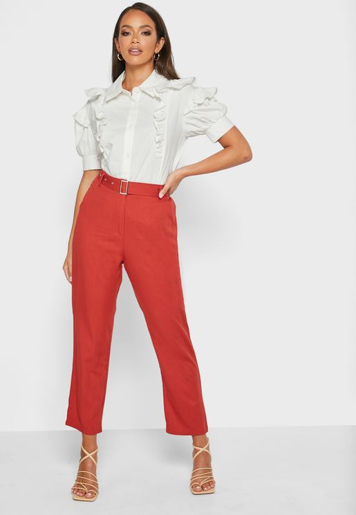 Soft Belted Straight Pants