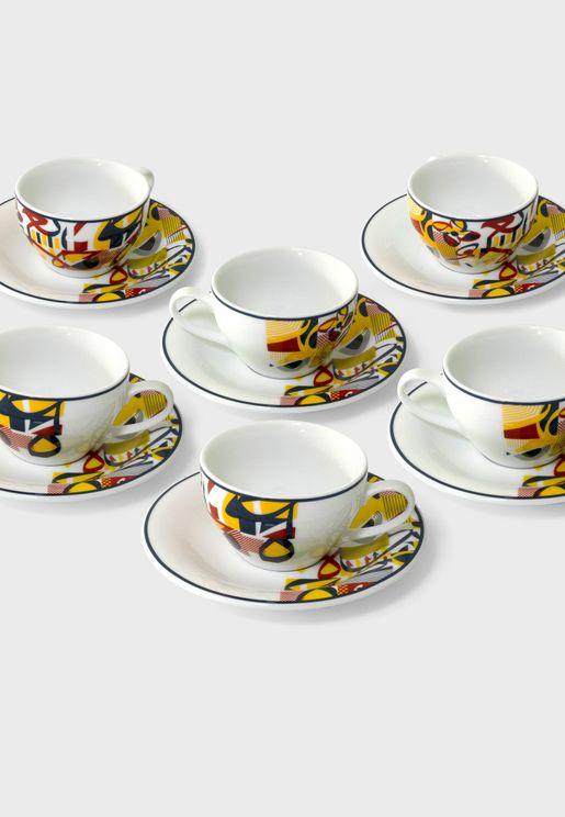 Abstract Tea Cup & Saucer x 6