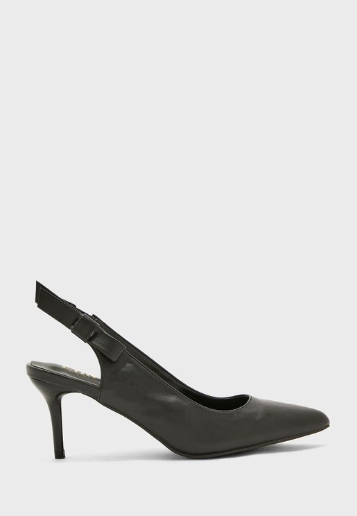 Slingback Bow Detail Pointed Shoe
