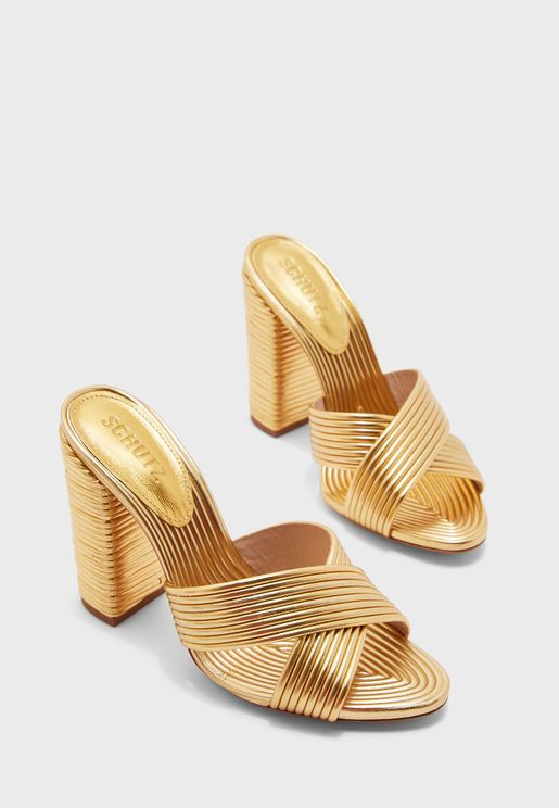 Cross Strap Block Heel Sandal