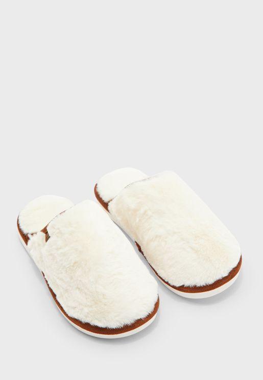 Wool Effect Mule Bedroom Slippers
