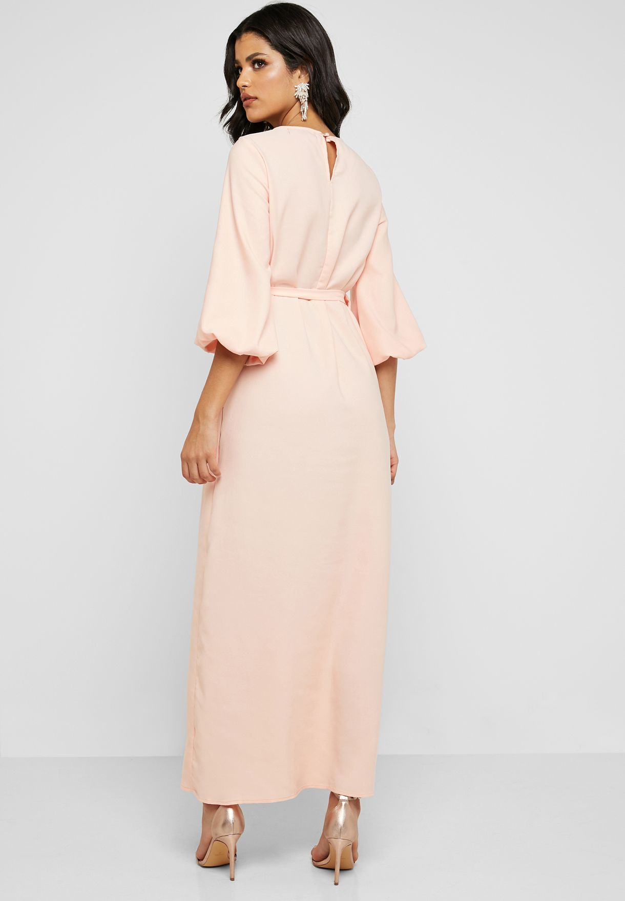 Puff Sleeve Tie Waist Maxi Dress