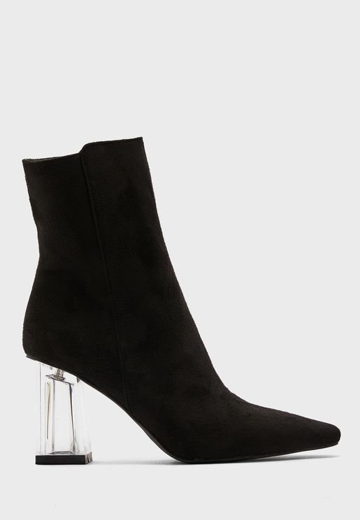 Faux Suede Pointed Boot With Perplex Heel