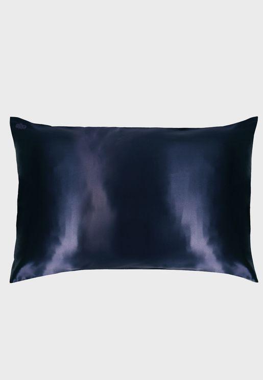 غطاء وسادة حرير بحجم كوين - كحلي