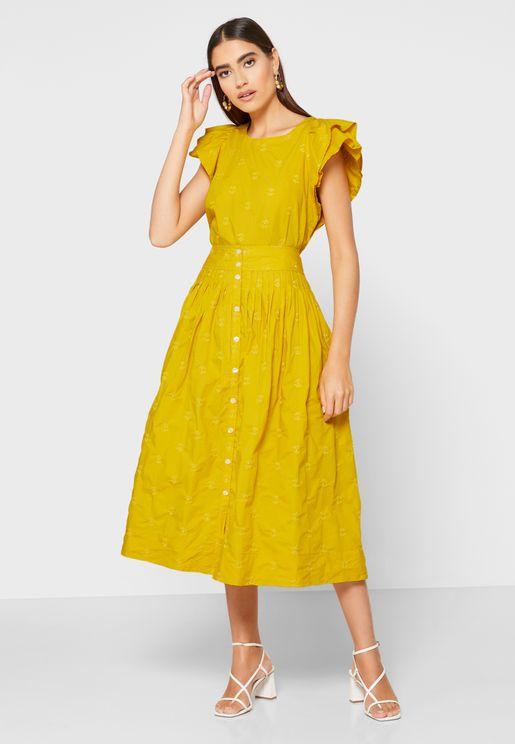 Pleated Detail Midi Skirt