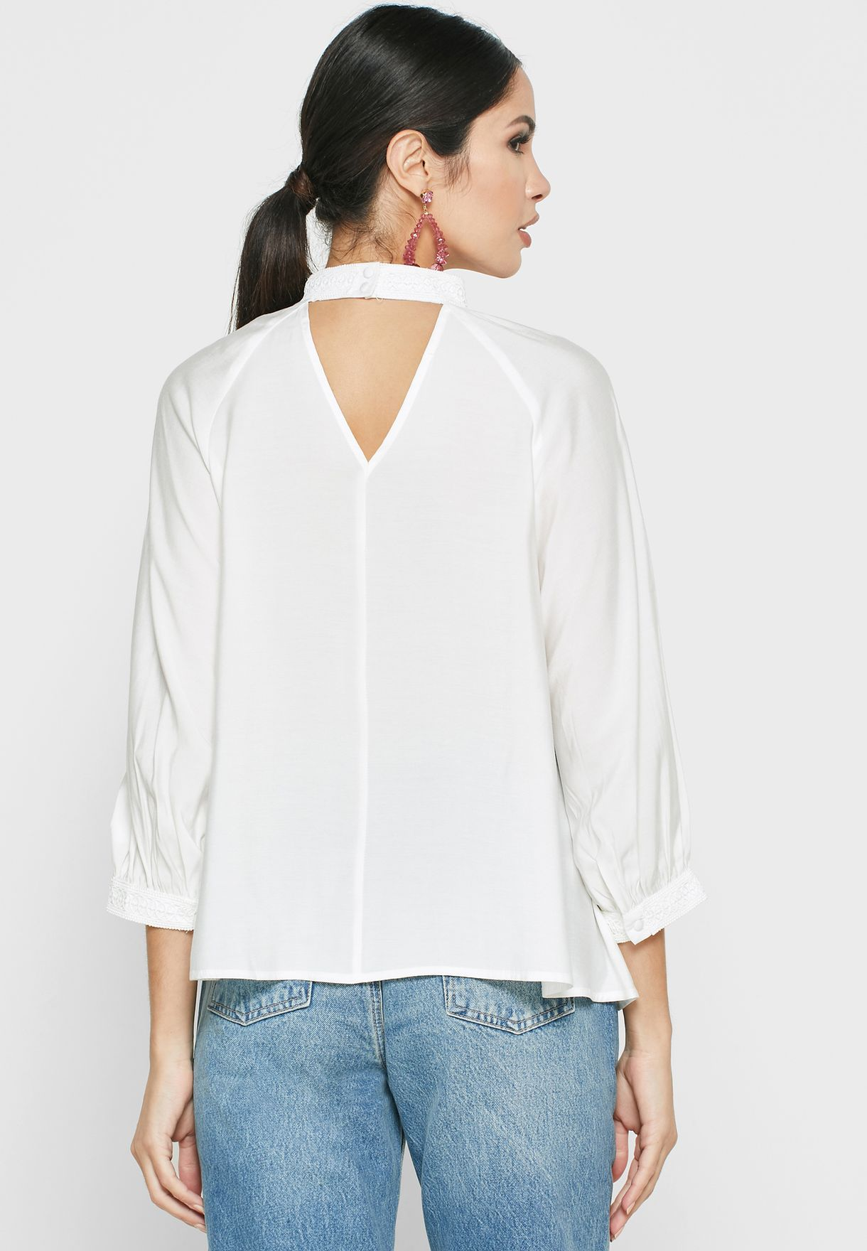 Pleat Detail High Neck Top