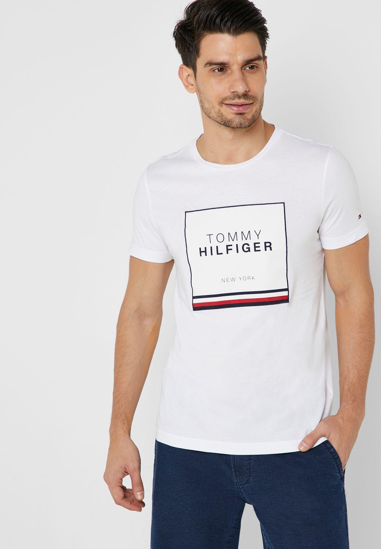 887382a9ac26 Shop Tommy Hilfiger white Corp Applique Crew Neck T-Shirt MW0MW10369 ...