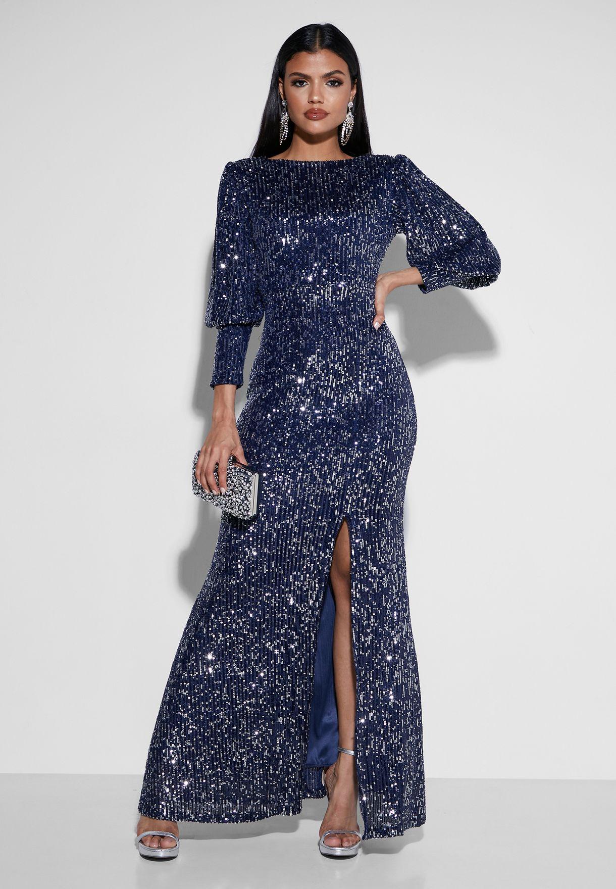 Puffed Sleve Sequin Maxi Dress