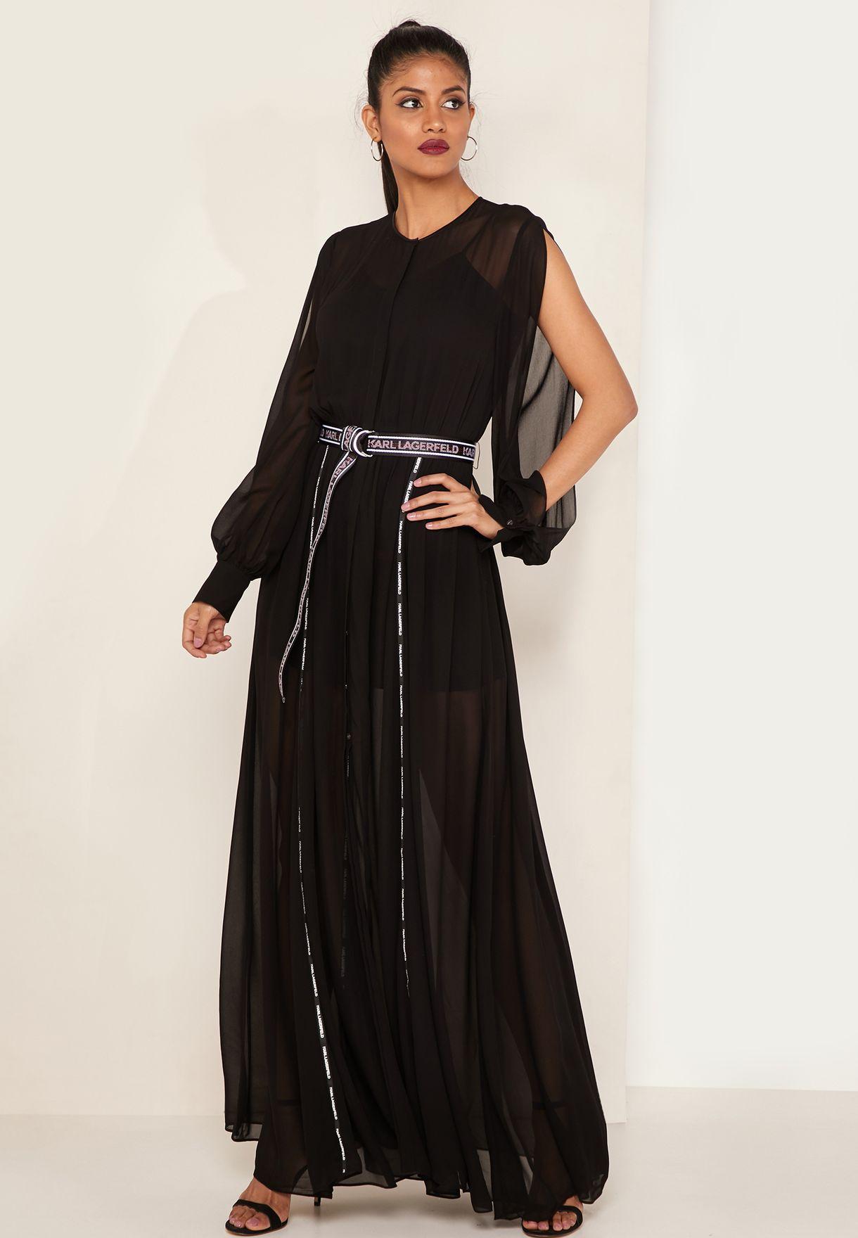3e3bbdc4e3e Shop Karl Lagerfeld black Logo Tape Maxi Shirt Dress 91KW1313-999 ...