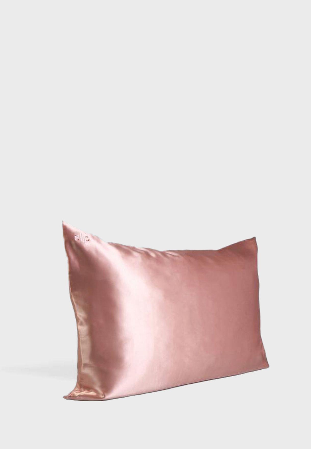 غطاء وسادة حريري كوين سايز - وردي