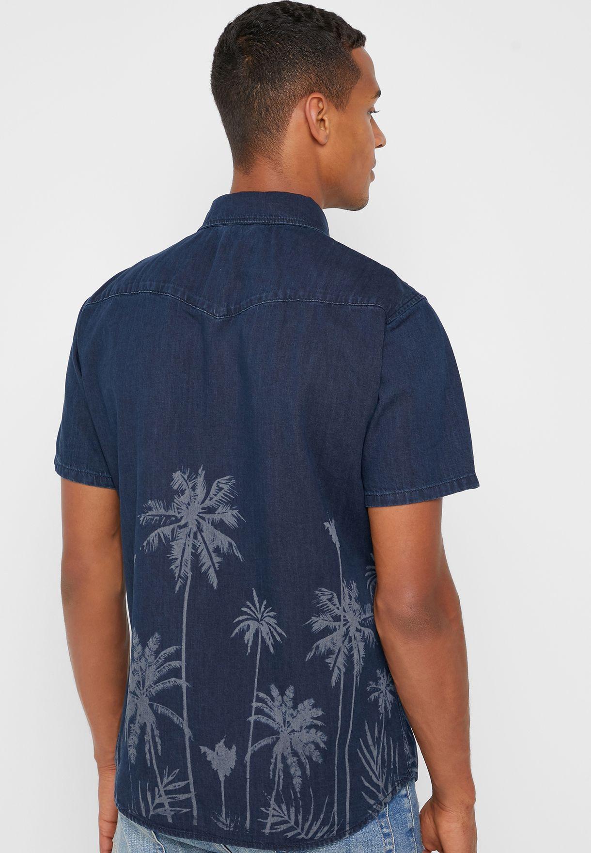 قميص جينز سلم فيت بطبعات نخيل