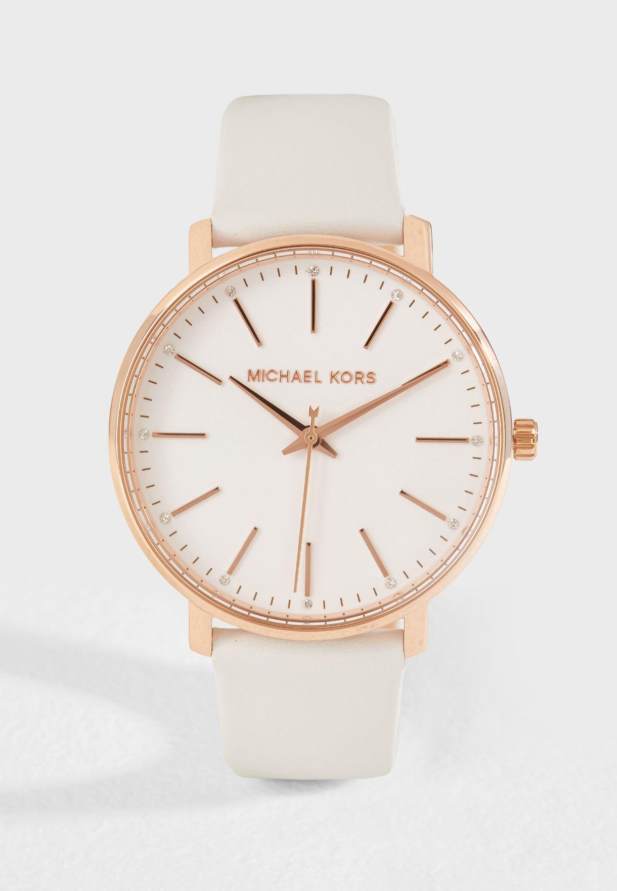 a548a820f تسوق ساعة كلاسيكية بحزام جلد اصلي MK2800 ماركة مايكل كورس لون أبيض ...