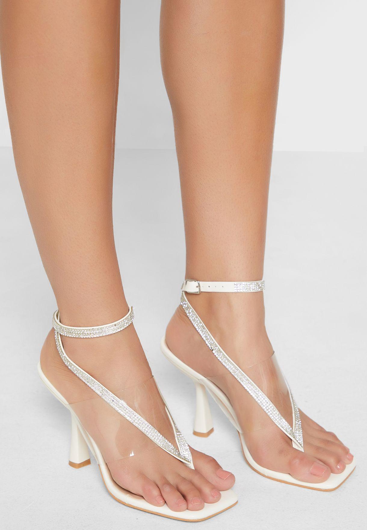 Diamante Ankle Strap Toe Post Square Toe Sandal